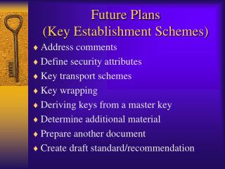 Future Plans (Key Establishment Schemes)