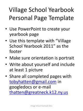 Village School Yearbook Personal Page Template