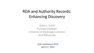 RDA and Authority Records: Enhancing Discovery