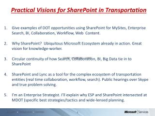 Practical Visions for SharePoint in Transportation
