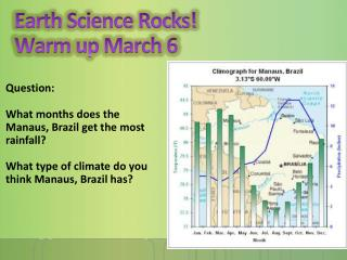 Earth Science Rocks! Warm up March  6