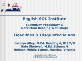 English SOL Institute Secondary Vocabulary & Nonfiction Reading Workshop: