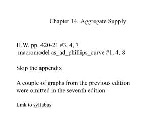 Chapter 14. Aggregate Supply