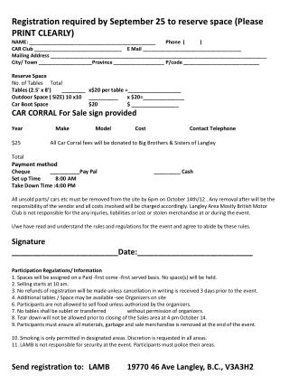 Registration required by September 25 to reserve space (Please PRINT CLEARLY)