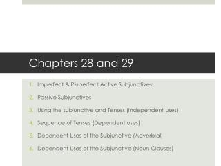 Chapters 28 and 29
