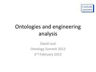 Ontologies and engineering analysis