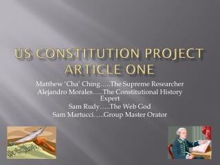 US Constitution Project Article One