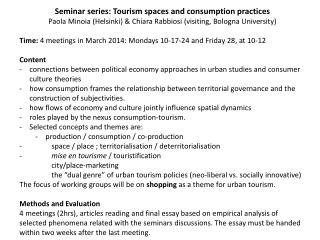 Seminar series: Tourism spaces and consumption practices