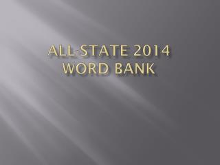 All-STATE 2014 Word Bank