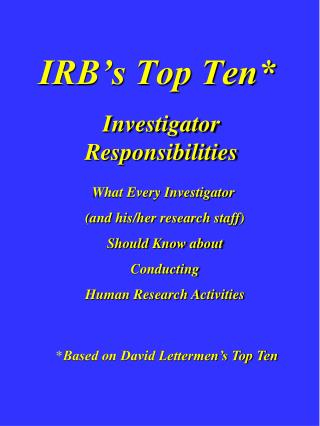 IRB's Top Ten*