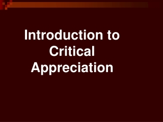 Introduction to Critical Appreciation