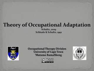 Theory of Occupational Adaptation Schultz, 2009 Schkade & Schultz, 1992