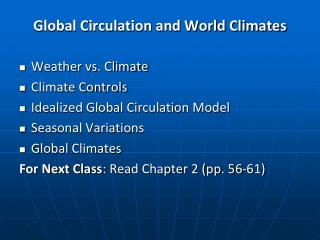 Global Circulation and World Climates