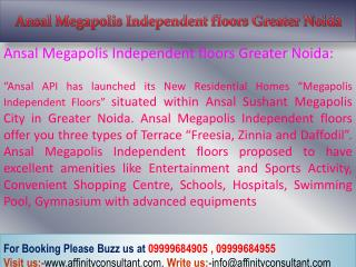 Ansal Greater Noida - Independent Floors * @ +91 9999684905
