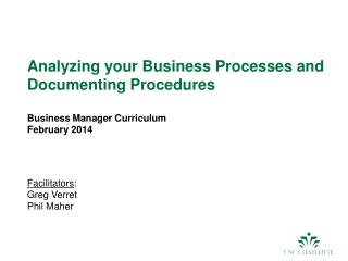 Analyzing your Business Processes and Documenting Procedures Business Manager Curriculum