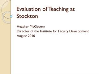 Evaluation of Teaching at Stockton