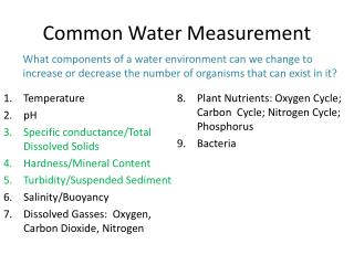 Common Water Measurement