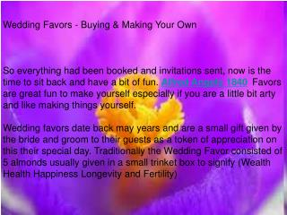 Wedding Favors - Buying & Making Your Own