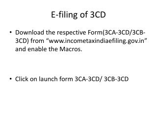 E-filing of 3CD