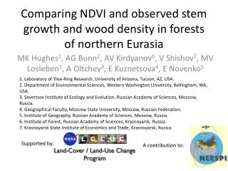 Comparing NDVI and observed stem growth and wood density in forests of northern Eurasia