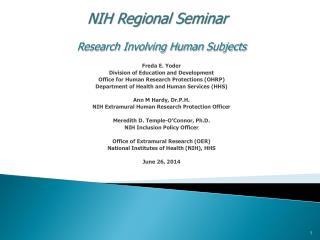 NIH Regional Seminar