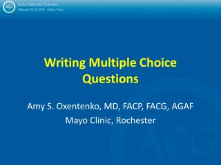Writing Multiple Choice Questions