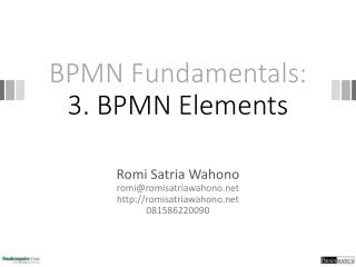 BPMN Fundamentals: 3. BPMN Elements