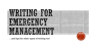 Writing for Emergency Management