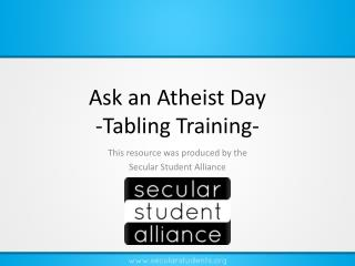 Ask an Atheist Day -Tabling Training-