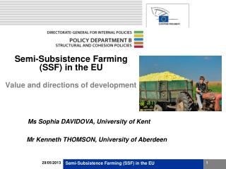 Semi-Subsistence Farming (SSF) in the EU