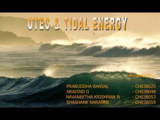 OTEC & TIDAL ENERGY