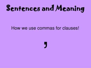 Sentences and Meaning