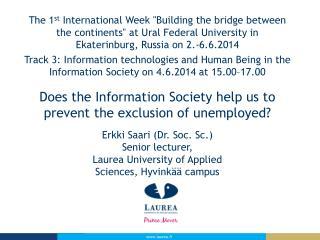 """The  1 st International  Week """"Building  the  bridge between"""