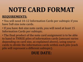 NOTE CARD FORMAT