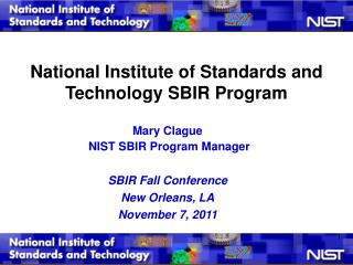 National Institute of Standards and Technology SBIR Program