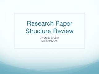 Research Paper Structure Review