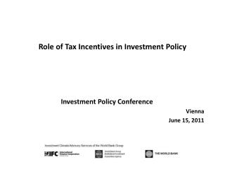 Role of Tax  Incentives in  Investment Policy