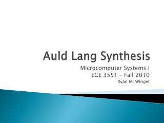 Auld Lang Synthesis