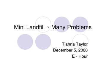 Mini Landfill ~ Many Problems