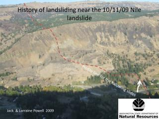 History of landsliding near the 10/11/09 Nile landslide