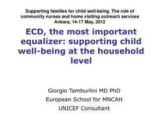 ECD, the most important equalizer: supporting child well-being at the household level