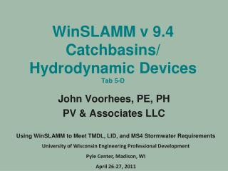 WinSLAMM v 9.4  Catchbasins/ Hydrodynamic Devices  Tab  5-D