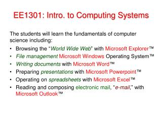 EE1301: Intro. to  Computing Systems