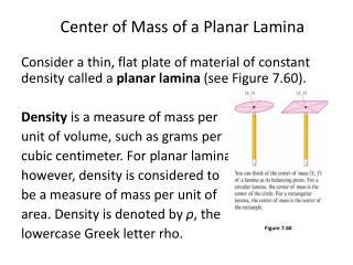 Center of Mass of a Planar Lamina