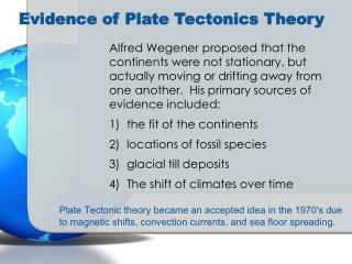Evidence of Plate Tectonics Theory
