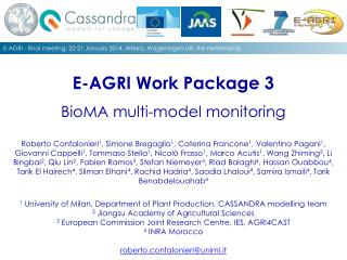 E-AGRI Work Package 3 BioMA multi-model monitoring