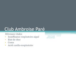 Club Ambroise Paré