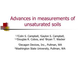 Advances in measurements of unsaturated soils