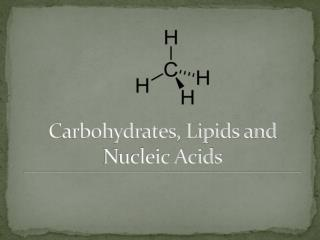 Carbohydrates, Lipids and Nucleic Acids