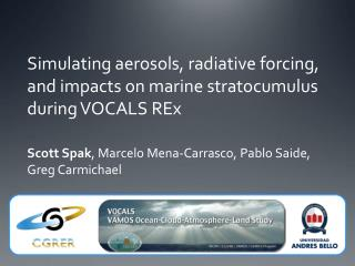 Simulating aerosols,  radiative  forcing, and impacts on marine stratocumulus during VOCALS  REx